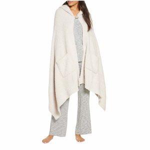Barefoot Dreams CozyChic Cream Hooded Pocket Shawl